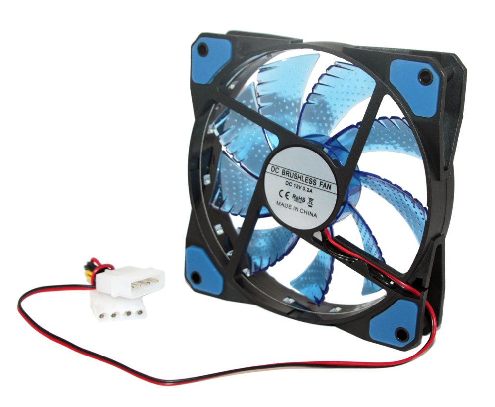 Вентилятор 120 mm GTL 15LED FAN Blue-Black / 120x120x25мм / 1200 об/мин / 4 pin
