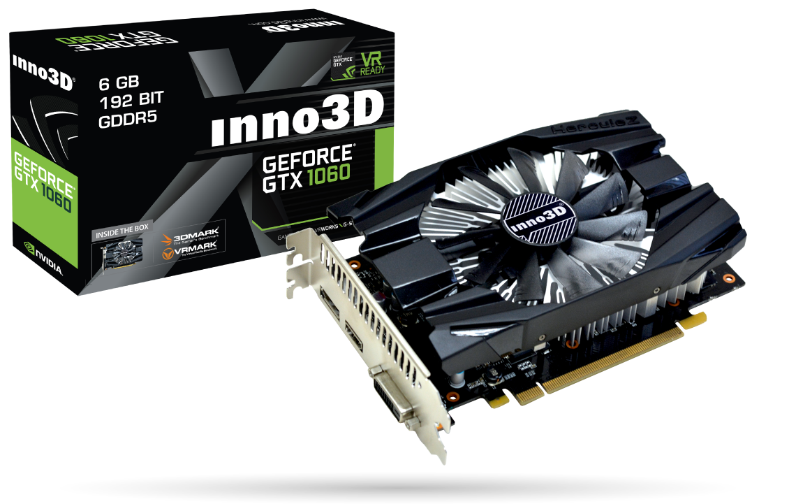 Видеокарта GeForce GTX1060, Inno3D, Compact, 6Gb DDR5, 192-bit, DVI/HDMI/DP, 1708/8000 MHz (N1060-6DDN-N5GM)