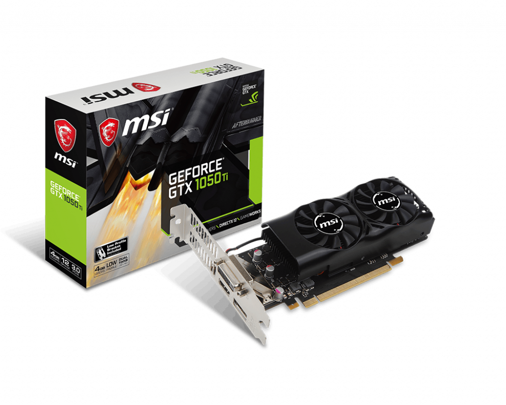 Видеокарта GeForce GTX1050Ti, MSI, 4Gb DDR5, 128-bit, DVI/HDMI/DP, 1392/7008 MHz, Low Profile (GTX 1050 TI 4GT LP)