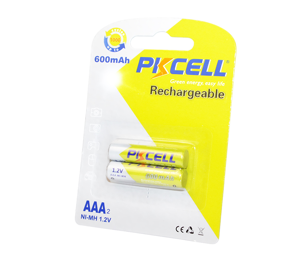 Аккумулятор AAA, 600 mAh, PKCELL, 2 шт, 1.2V, Rechargeable, Blister (545343)