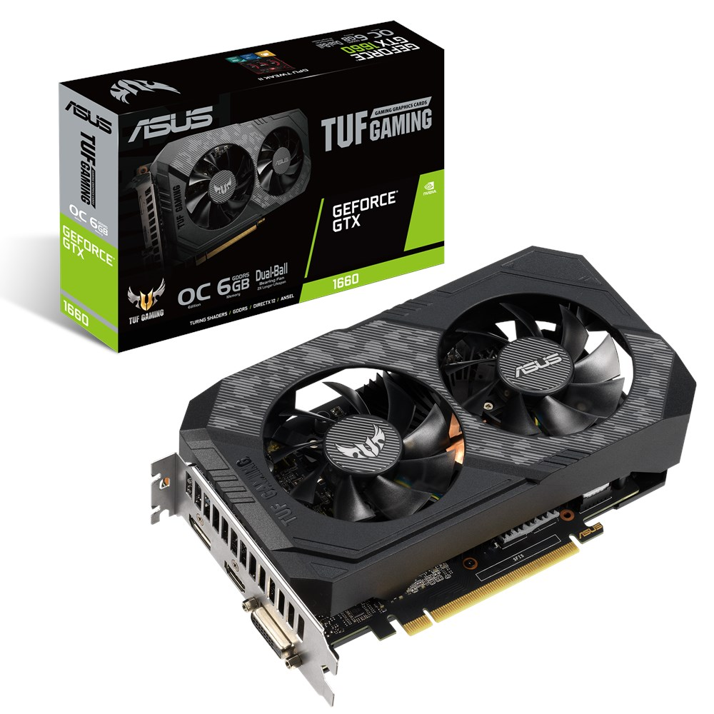 Видеокарта GeForce GTX 1660 OC, Asus, Gaming, 6Gb DDR5, 192-bit, DVI/HDMI/DP, 1845/8000 MHz, 8-pin (TUF-GTX1660-O6G)