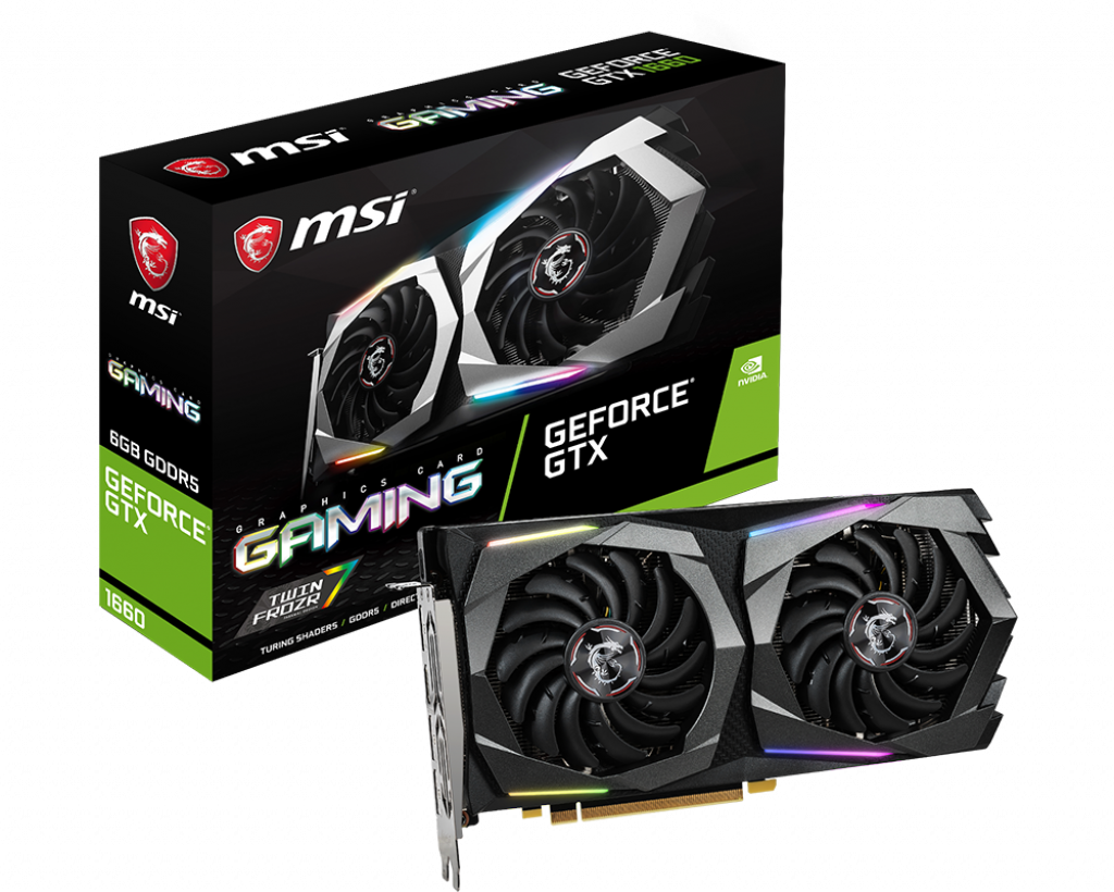 Видеокарта GeForce GTX 1660 OC, MSI, GAMING, 6Gb DDR5, 192-bit, HDMI/3xDP, 1860/8000 MHz, 8-pin (GTX 1660 GAMING 6G)