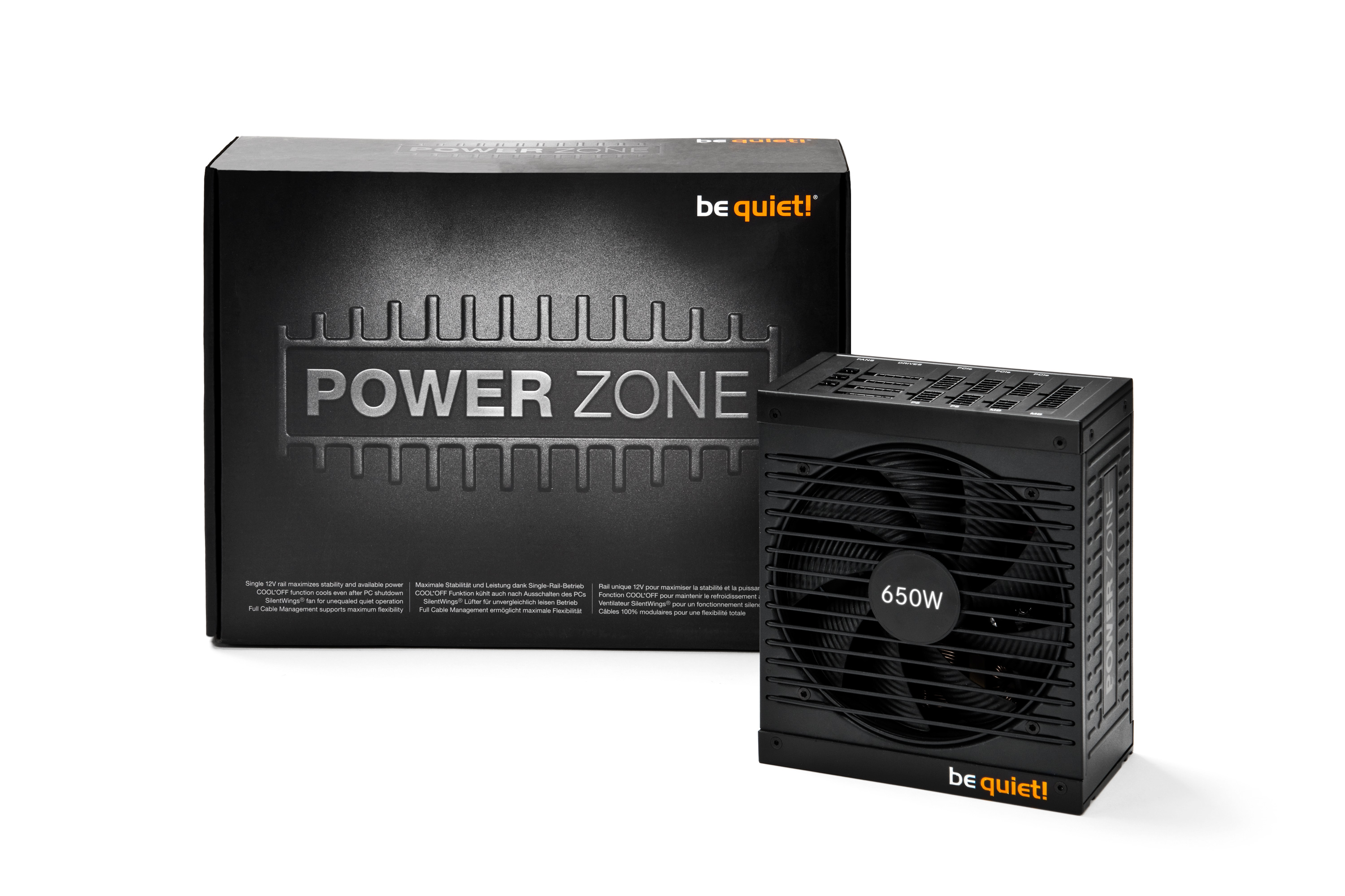 Блок питания be quiet! Power Zone 650W (BN210) 135mm, ATX, 20+4, 4+4, 4*6+2pcie, 8 SATA, 4 Molex, 80 Plus Bronze, кабеля модульные